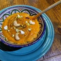 Crème de carottes et asperges au lait de coco